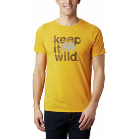 Columbia Terra Vale II Camiseta Manga Corta Hombre, bright gold keep it wild